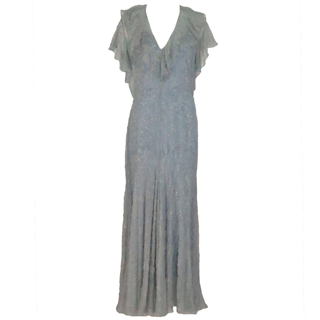 ba495b32a858 Ralph Lauren 1930s inspired bias cut beaded silk chiffon dress For Sale
