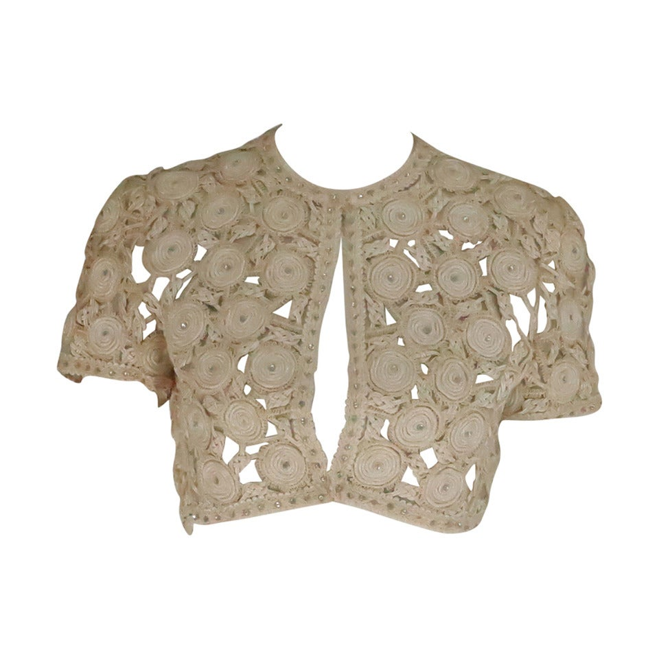 Rare Malcolm Starr corded cropped lace jacket 1960s 1