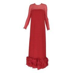 1960s Sarmi coral red silk chiffon gown