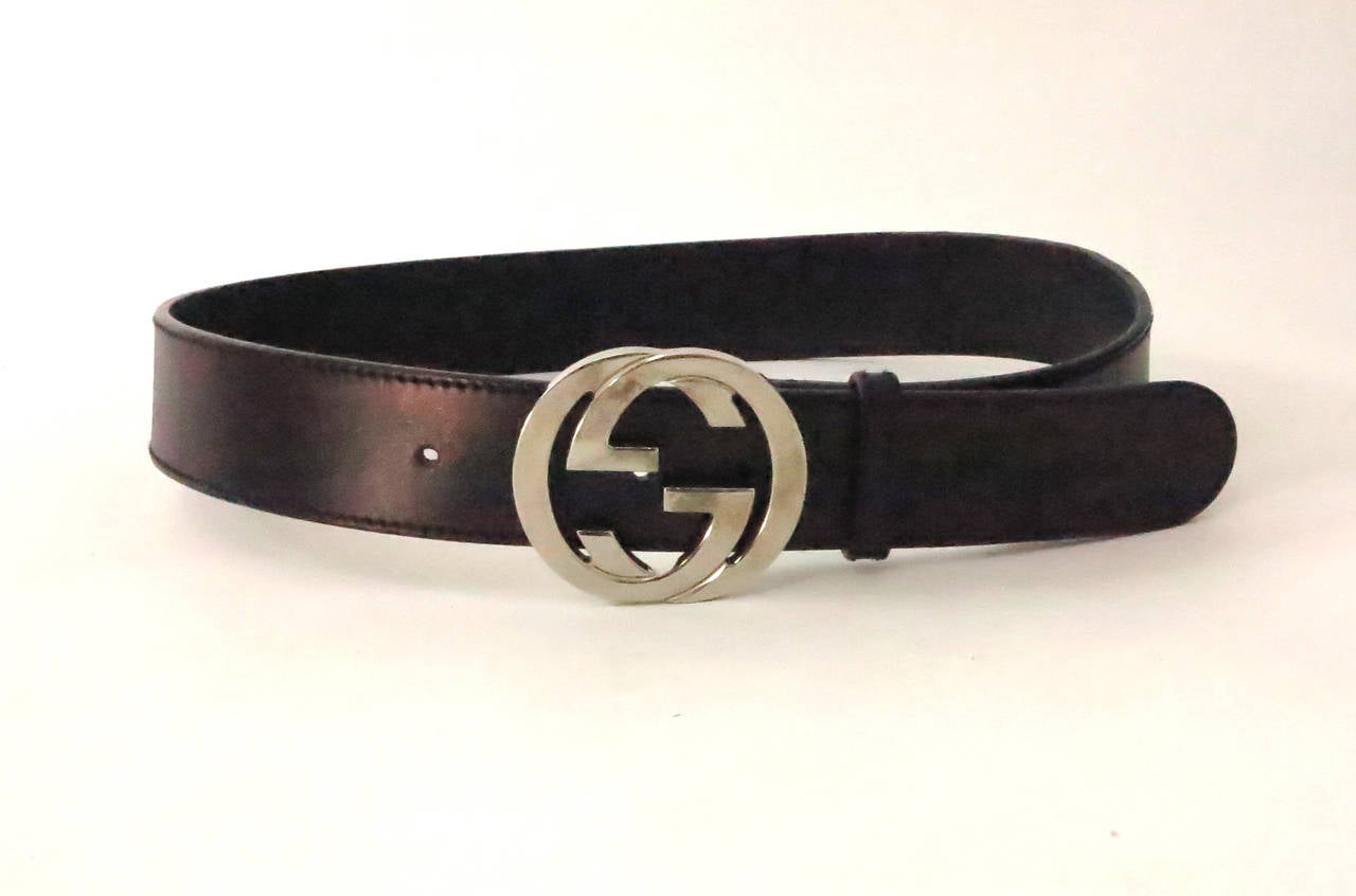 Gucci Dark Metallic Leather Belt With Silver Logo Buckle