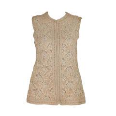 1960s Malcolm Starr ivory corded macrame sleeveless jacket