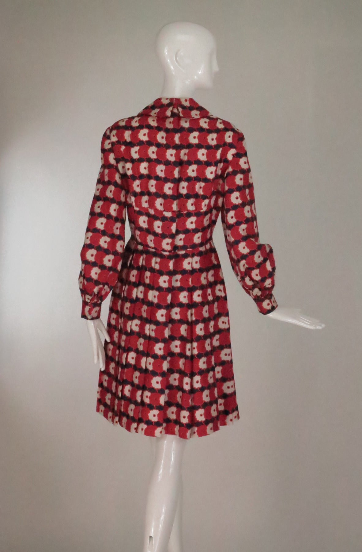 Women's 1960s Chester Weinberg mod floral pleated silk twill dress For Sale