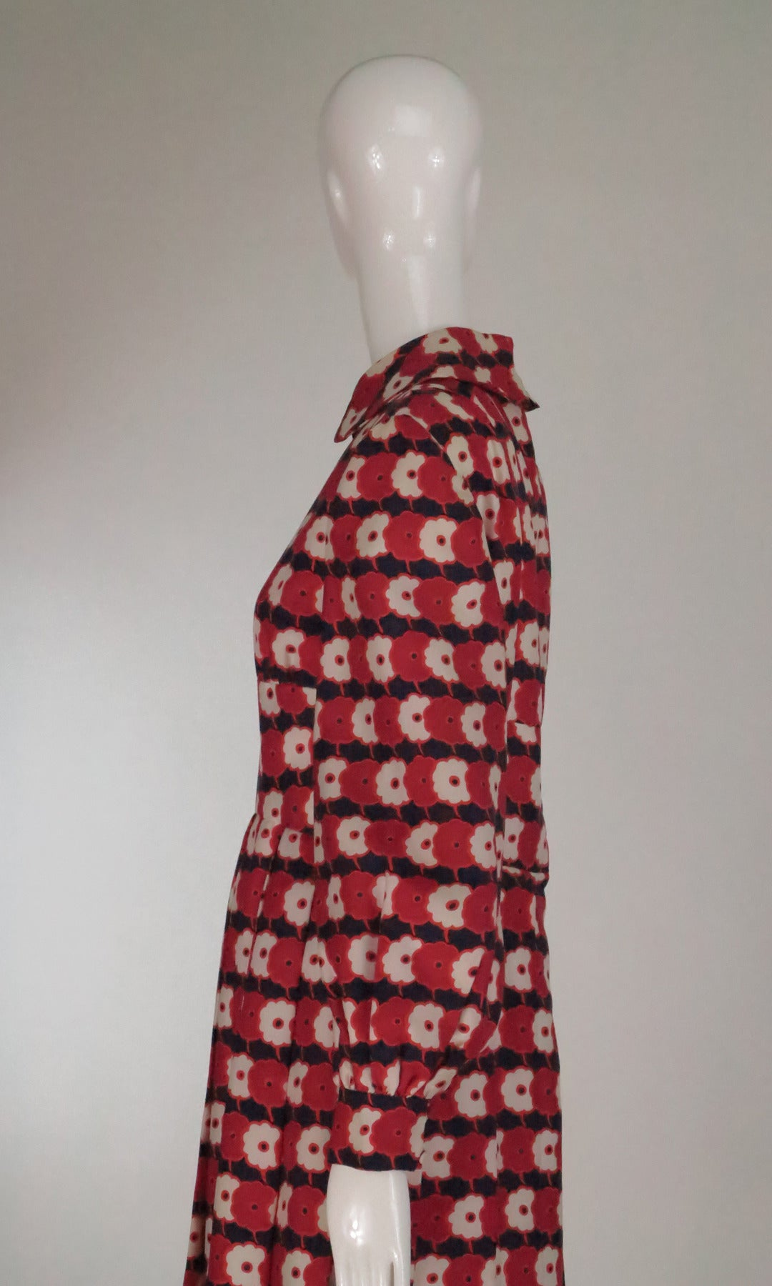 1960s Chester Weinberg mod floral pleated silk twill dress 7