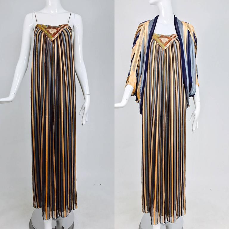 Vintage Janice Wainwright 2pc woven silk stripe maxi dress and jacket 1970s 2