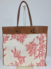 Valentino leather trimmed painted coral canvas tote bag