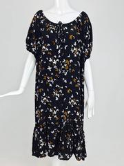 Documented Yves Saint laurent butterfly print silk peasant dress 1978