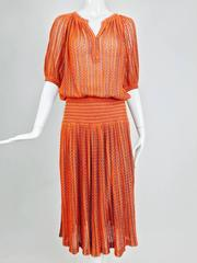 Vintage Missoni linen knit peasant style smocked hip knit dress 1970s