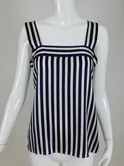 Vintage Yves Saint Laurent navy blue and white silk top 1990s