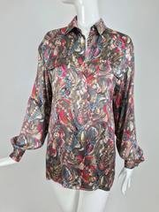 Vintage Gucci silk satin print blouse 1990s