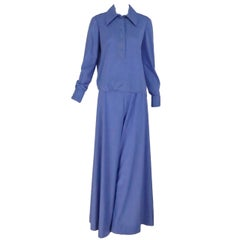 1970s Geoffrey Beene palazzo pant set in silky hyacinth blue knit