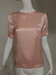 Vintage Chanel classic pale pink silk satin short sleeve blouse 1970s