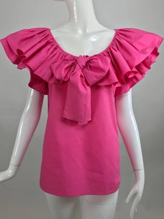 Vintage Yves Saint Laurent hot pink bow front ruffle peasant blouse NWT1970s