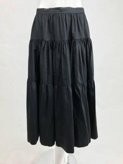 Vintage Yves Saint Laurent tiered black cotton peasant skirt 1970s