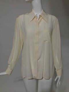 Valentino cream fine silk crepe long sleeve blouse