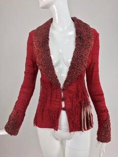 Christian LaCroix Brick Red Cardigan Sweater with Dyed Lamb Fur Trim