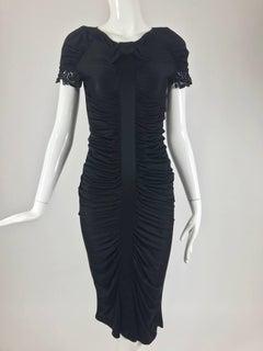 Valentino Shirred Black Silk Jersey Body Con Dress