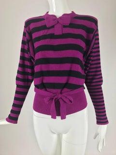Sonia Rykiel fucsia and black knit bow tie sweater