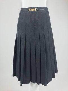 Celine grey wool jacquard pleated skirt 1990s