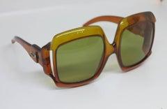 Christian Dior Dark Amber Big Square sunglasses 1970s