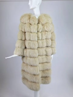 Cream Fox Fur and suede coat with removable hem 1970s
