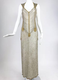 Naeem Khan Raizee cream and gold draped beaded gown 1980s