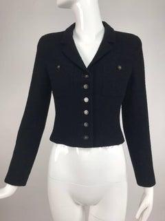 Chanel Black Boucle cropped jacket 34 2