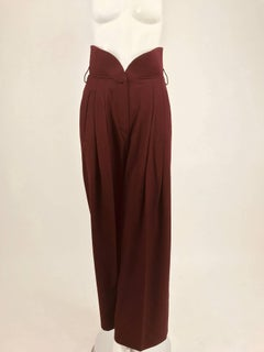 Claude Montana Shaped quilted high waist trouser Burgundy wool gabardine 1980s