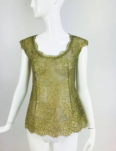 Emanuel Ungaro gold lace cap seeve fitted evening top