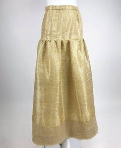 Emanuel Ungaro Studio Couture gold spun silk organza evening skirt