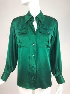 Yves Saint Laurent Emerald Green silk satin blouse 1970s