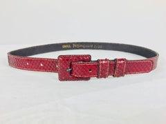 Yves Saint Laurent skinny Red snake skin belt 1970s