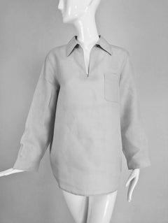 Hermes pale grey linen pull on shirt