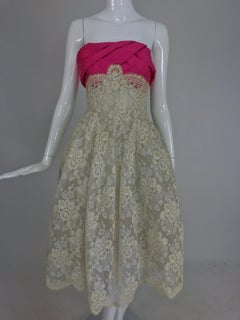 Hattie Carneige Custom cream guipure lace pink silk strapless dress 1950s