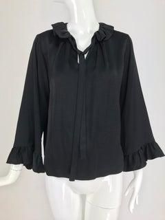 Yves Saint Laurent shirmmy black silk satin tie front blouse 1970s