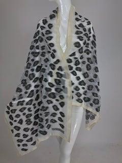 Giorgio Armani large sheer cream and woven black silk leopard spot shawl