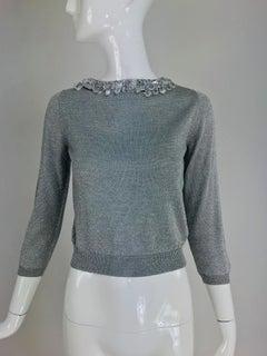 Prada silver metallic grey rhinestone collar cardigan sweater