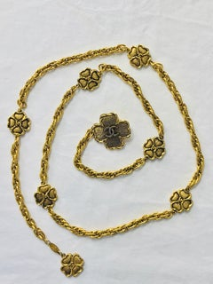 Chanel Eight Four Leaf Clover gold chain belt necklace 1988