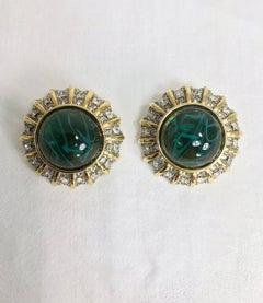 St John green stone rhinestone gold clip back earrings