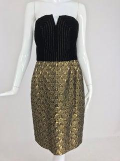 Jacqueline de Ribes gold metallic and black velvet strapless cocktail dress