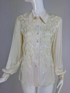 Valentino cream silk satin embroidered blouse