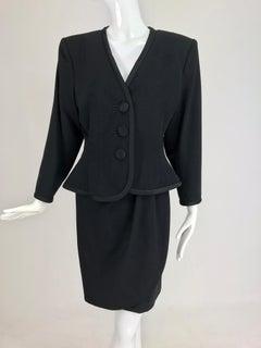 Yves Saint Laurent black wool peplum jacket wrap skirt set 1990s