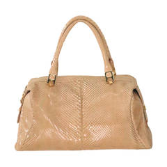 Judith Leiber blond snake skin double handle tote bag
