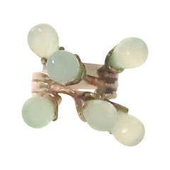 Icy sea green stone Sputnik ring