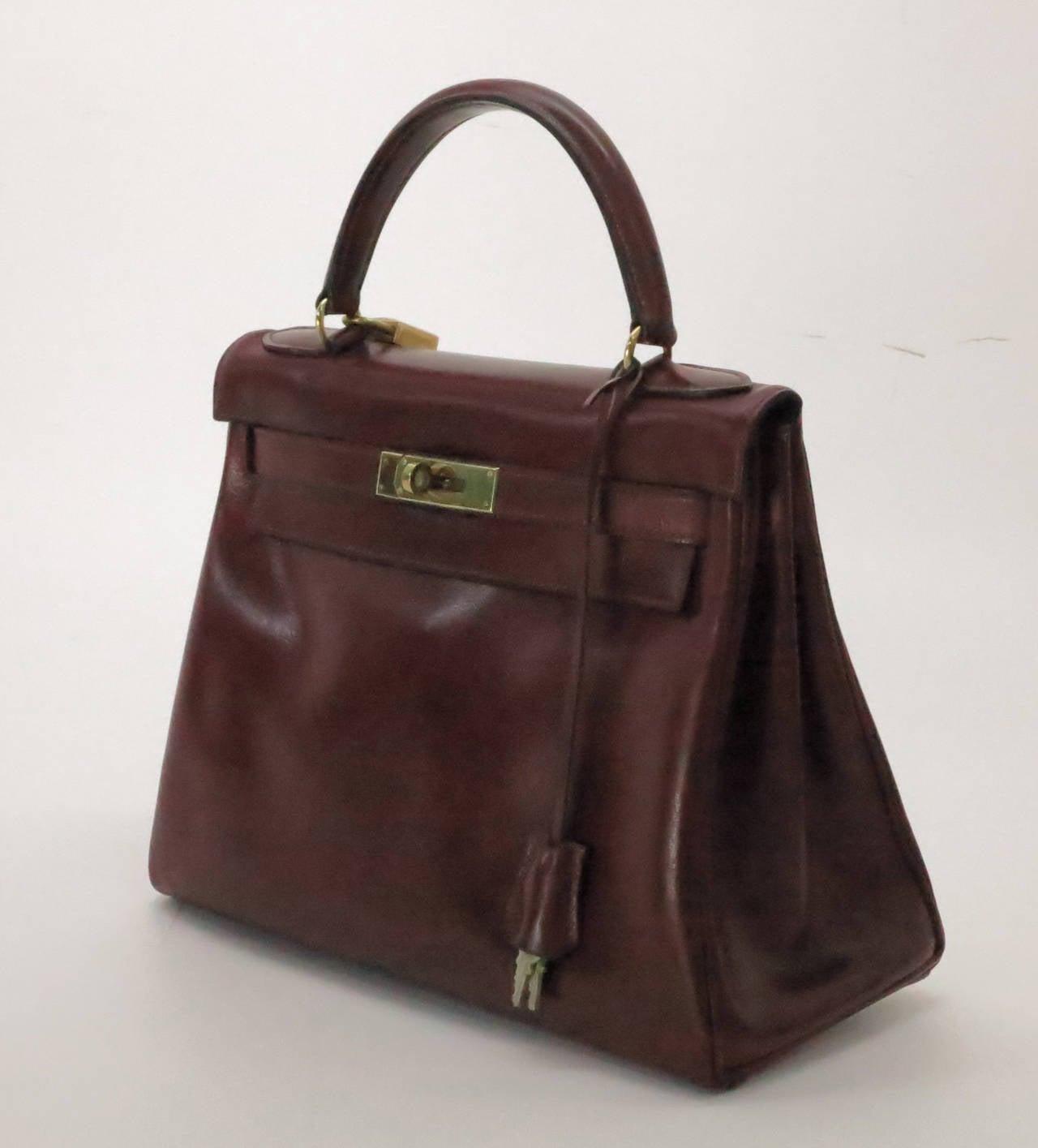 d1f268c6b1bd Hermes Kelly handbag...Beautiful rich burgundy box calf Kelly handbag dated  P-