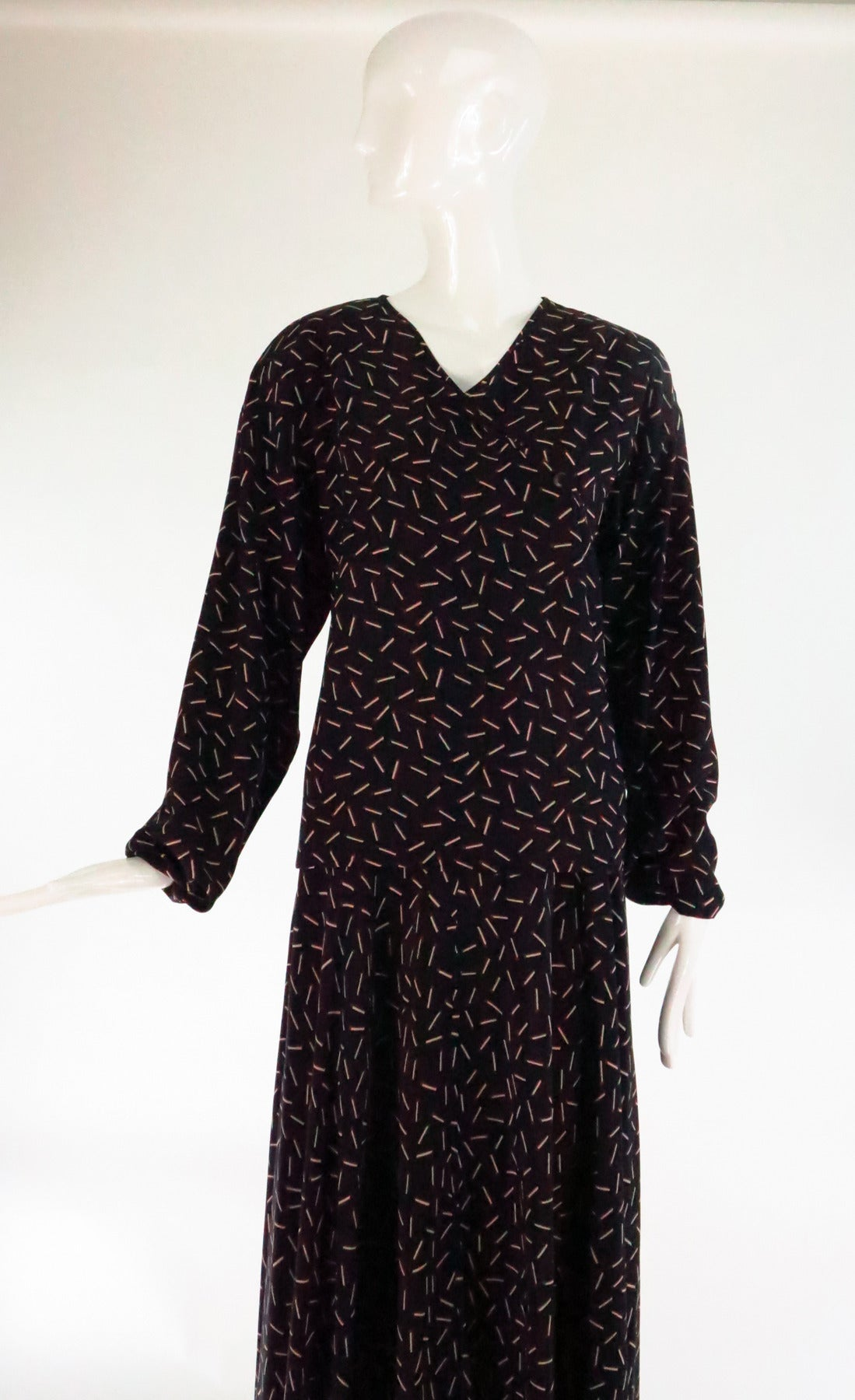 1980s Krizia 2pc match stick print silk set 2