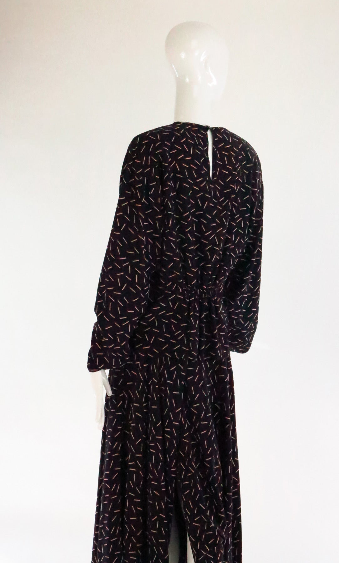 1980s Krizia 2pc match stick print silk set 7