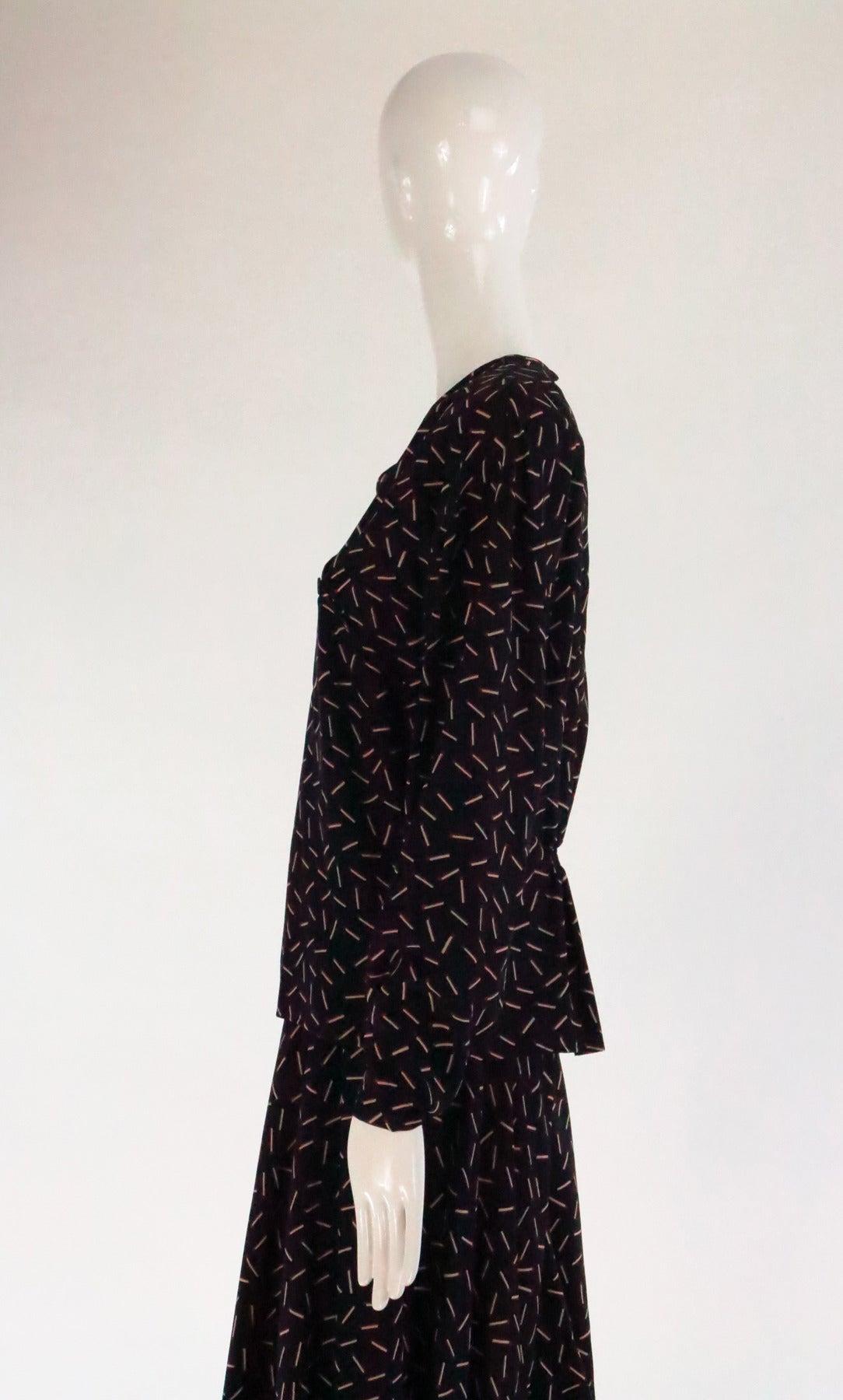 1980s Krizia 2pc match stick print silk set 8