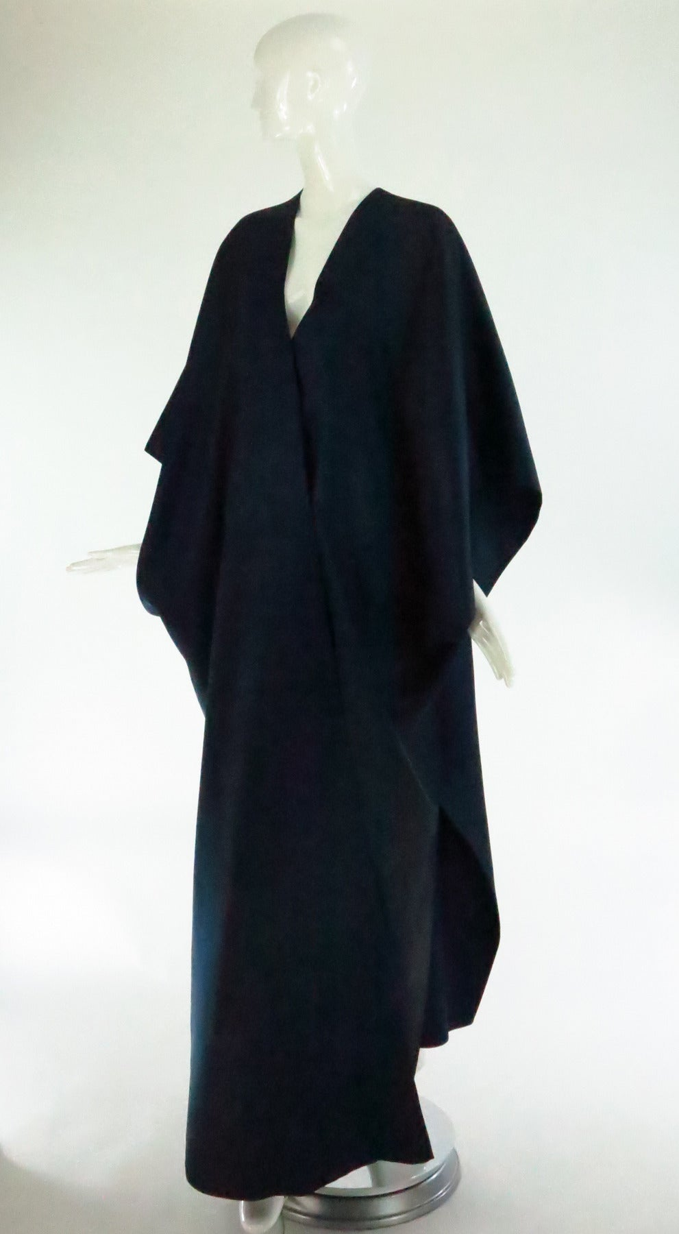 Black 1960s Stavropoulos deep teal blue silk twill kimono style evening coat For Sale