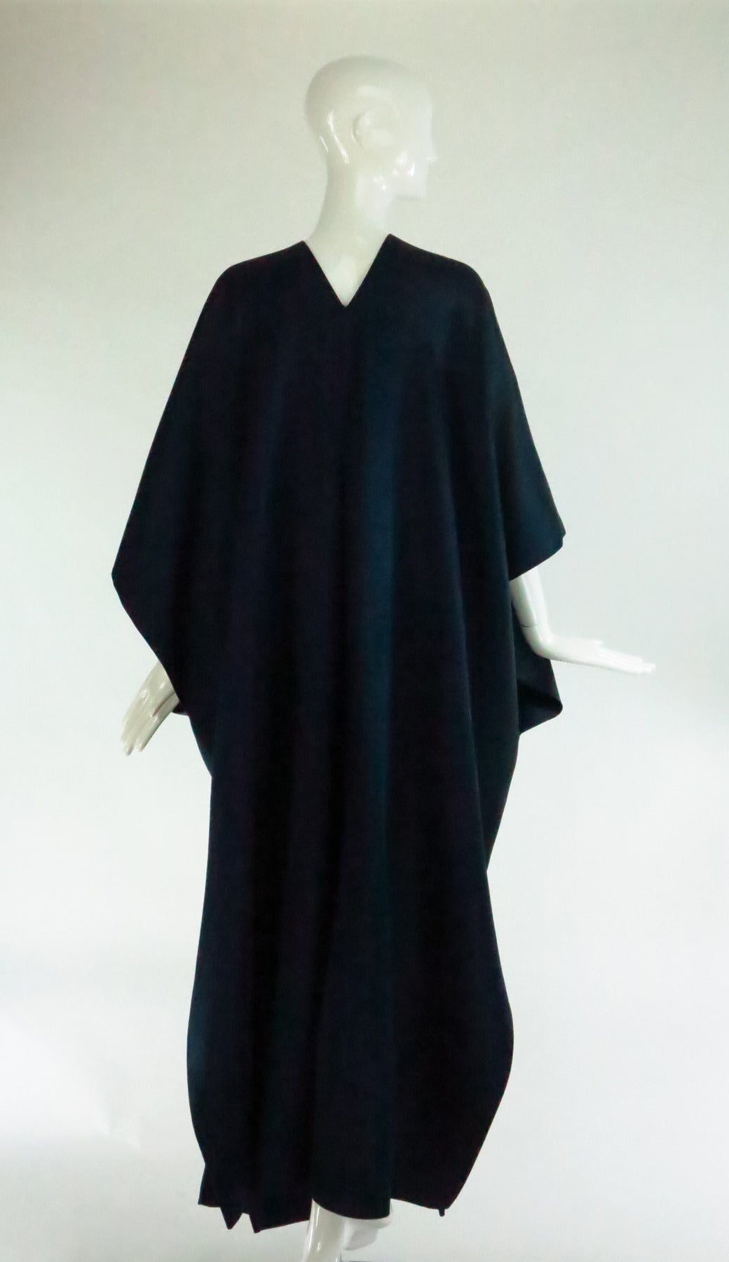 Women's 1960s Stavropoulos deep teal blue silk twill kimono style evening coat For Sale