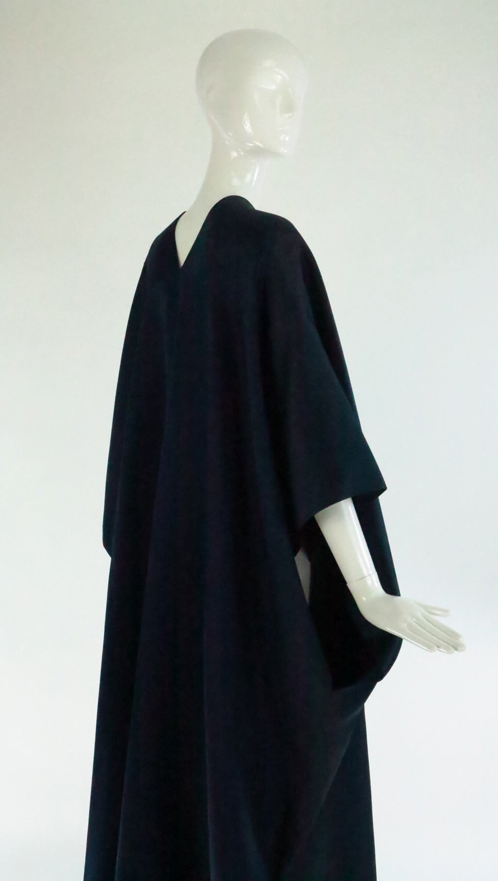 1960s Stavropoulos deep teal blue silk twill kimono style evening coat 6